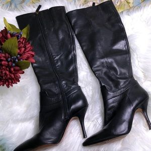Nine west Getta black leather heeled boots
